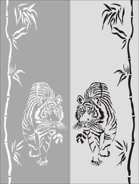 Рисунок на стекле тигр